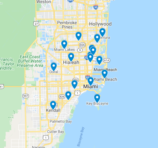 An image of the map of miami